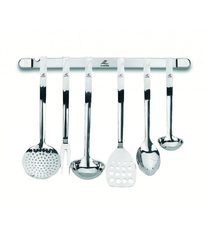 Juego cocina 6 p pared profesional de lacor for Soporte utensilios cocina