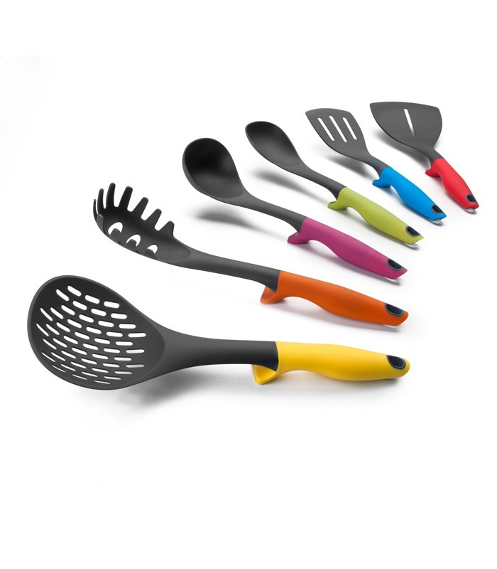 Set 6 utensilios soporte colorful for Soporte utensilios cocina