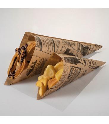 Cono de papel antigrasa vintage Newsfood de Effimer (1600 uds.)
