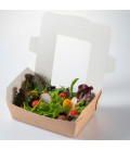 Caja kraft con ventana. Global box blanca