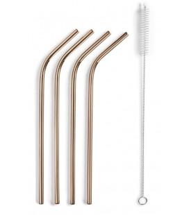 Pack de 4 pajitas de cobre + cepillo de Lacor