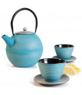 Cast iron teapot SOHO + 2 mugs with plate by Ibili