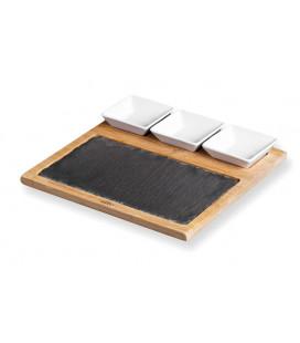Tabla de pizarra y bambú con cuencos de Lacor