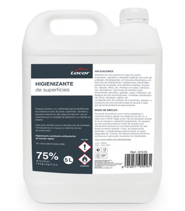 Hydroalcoholic solution for surfaces by Lacor