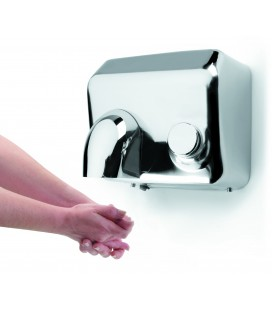 Hand dryer with push button