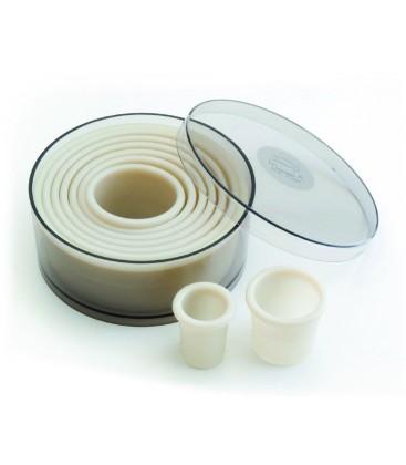 Caja 9 cortapastas redondos rizado nylon de Lacor