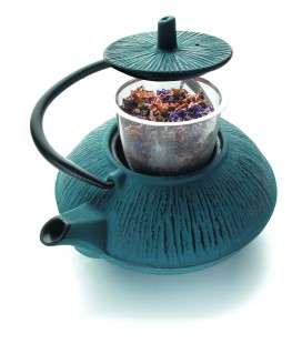 Lacor blue cast iron teapot